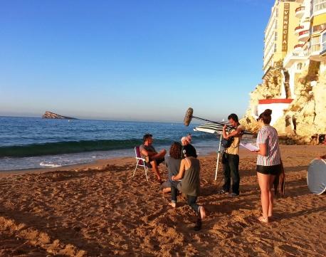 Grabando en Playa Levante