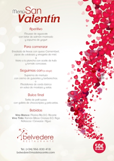 Menú enamorados Restaurante Belvedere