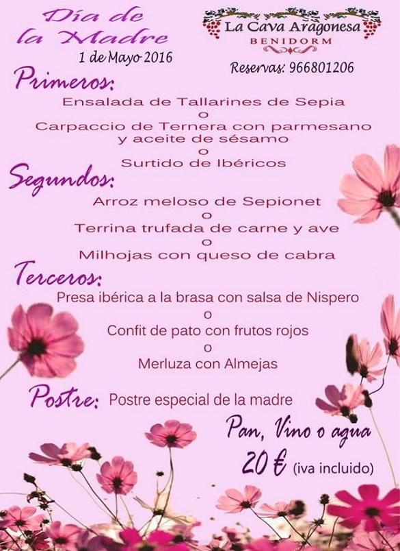 Menú especial de la Cava Aragonesa para el Día de la Madre