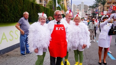 Once the official Benidorm fiestas finish in November , the unofficial British fancy dress party starts on the Thursday.