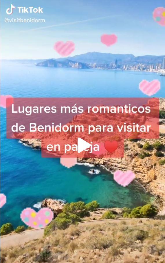 Video en la red social Tik Tok que muestra diferentes puntos de la ciudad de Benidorm que son perfectos para visitar en pareja, como el hotel Asia Gardens, o el Mirador del Castell.