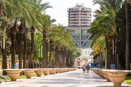 Park of l'Aigüera in Benidorm. You can see a path alongside a line of flowerpots and palm trees. In the background you can see Benidorm's Town Hall, and some people walking.