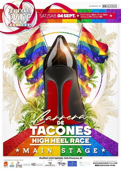 Cartel de la 'Carrera de Tacones' donde se ven unos tacones negros rodeadas de banderas LGBT.