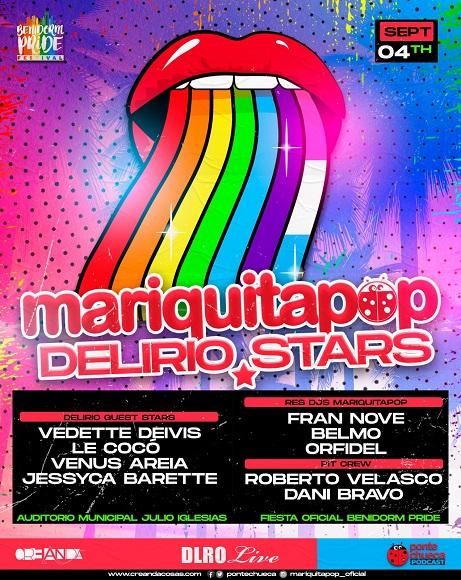 Cartel de 'Mariquita pop Delirio Stars' donde se ven una boca que saca la lengua y en la lengua está pintada la bandera LGBT.